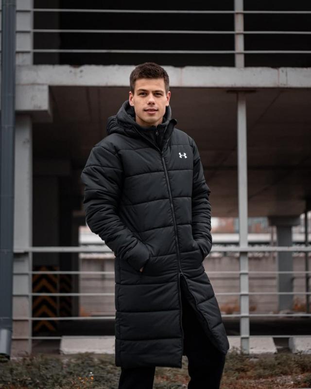 Зимний удлиненный пуховик - under armour черный куртка - Фото 6