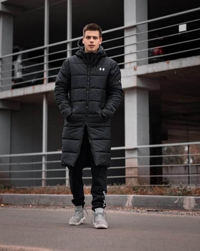 Зимний удлиненный пуховик - under armour черный куртка - Фото 8