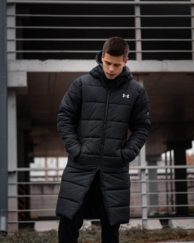 Зимний удлиненный пуховик - under armour черный куртка - Фото 9