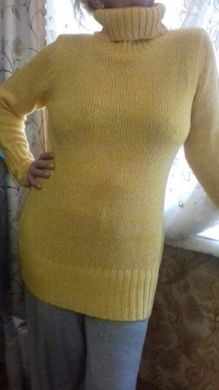 Меланжевый длинный теплый свитер бангладеш размер  на укр от 5...