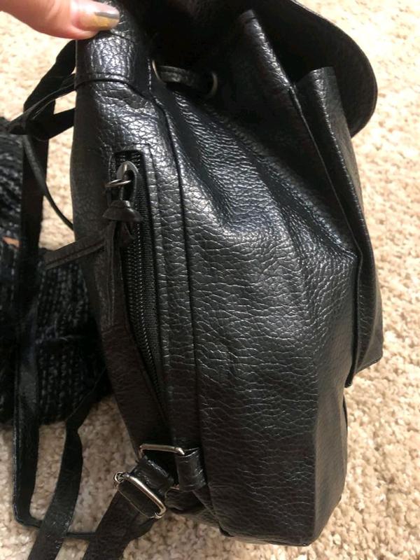 Рюкзак городской черный из эко-кожи - Фото 2