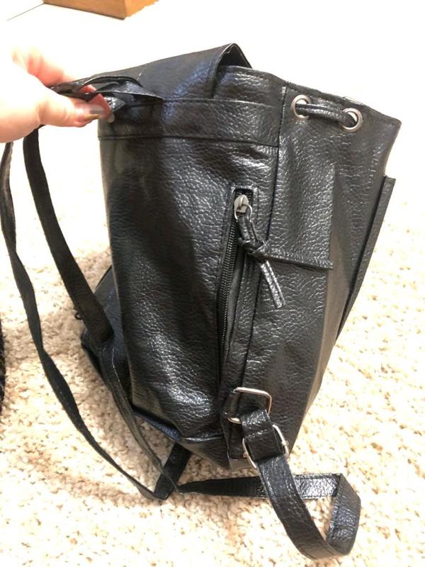 Рюкзак городской черный из эко-кожи - Фото 9