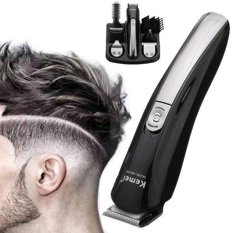 Машинка триммер для стрижки волос KEMEI KM-600 11 В 1 + Подставка - Фото 2