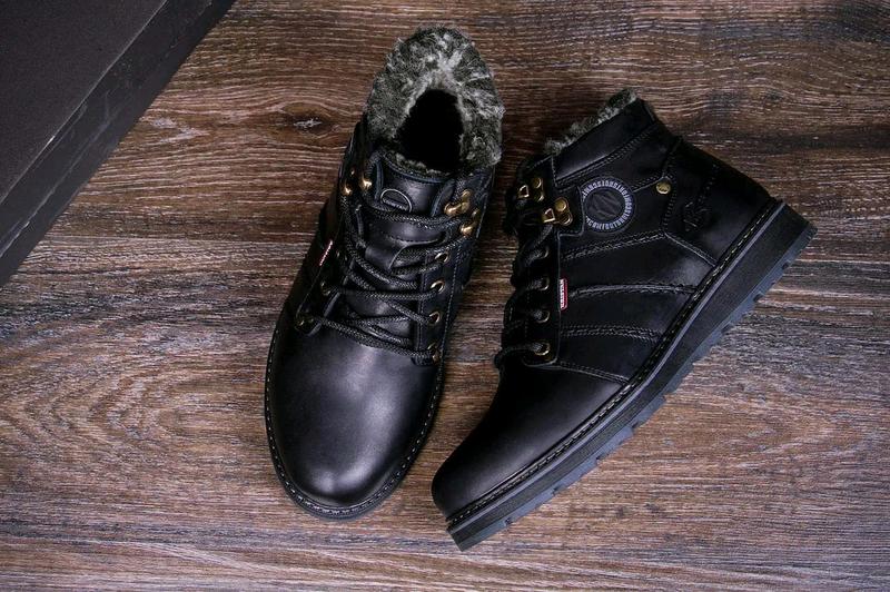 Мужские зимние кожаные ботинки - Фото 4
