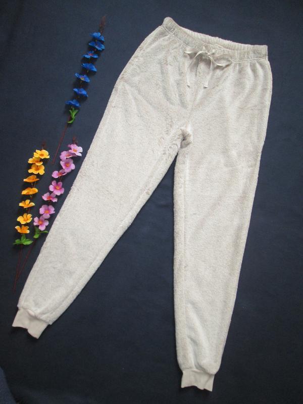Плюшевые теплющие пижамные домашние брюки цвета капучино высок...