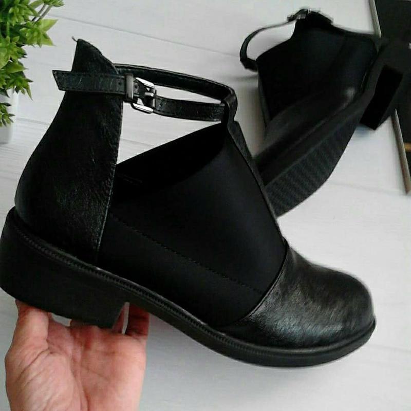 Женские черные туфли полуботинки