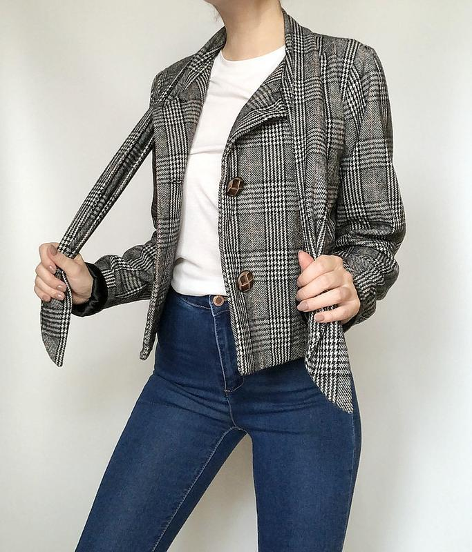 Обалденное короткое шерстяное пальто в клетку supremebeng (жакет) - Фото 2
