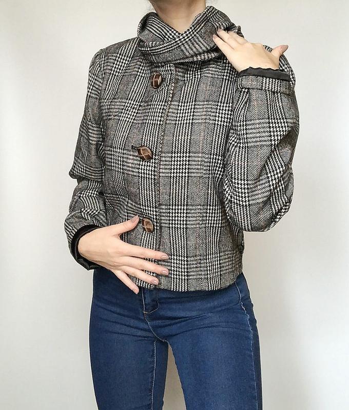 Обалденное короткое шерстяное пальто в клетку supremebeng (жакет) - Фото 3