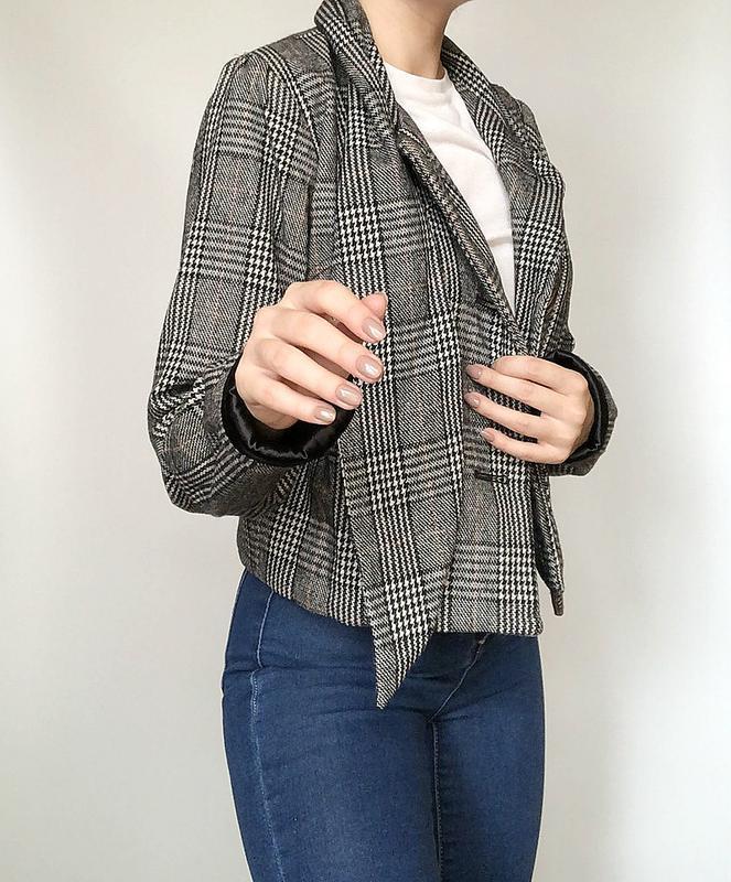Обалденное короткое шерстяное пальто в клетку supremebeng (жакет) - Фото 4