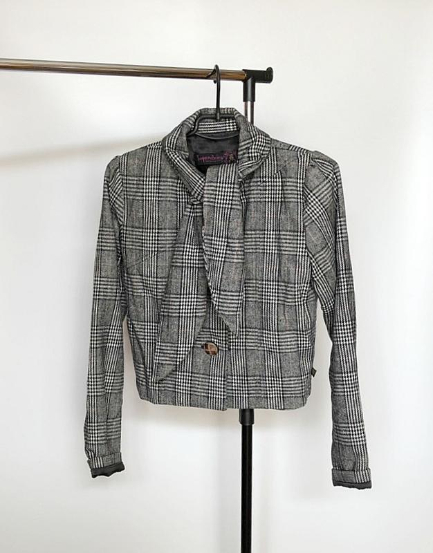 Обалденное короткое шерстяное пальто в клетку supremebeng (жакет) - Фото 6