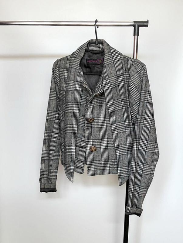 Обалденное короткое шерстяное пальто в клетку supremebeng (жакет) - Фото 8