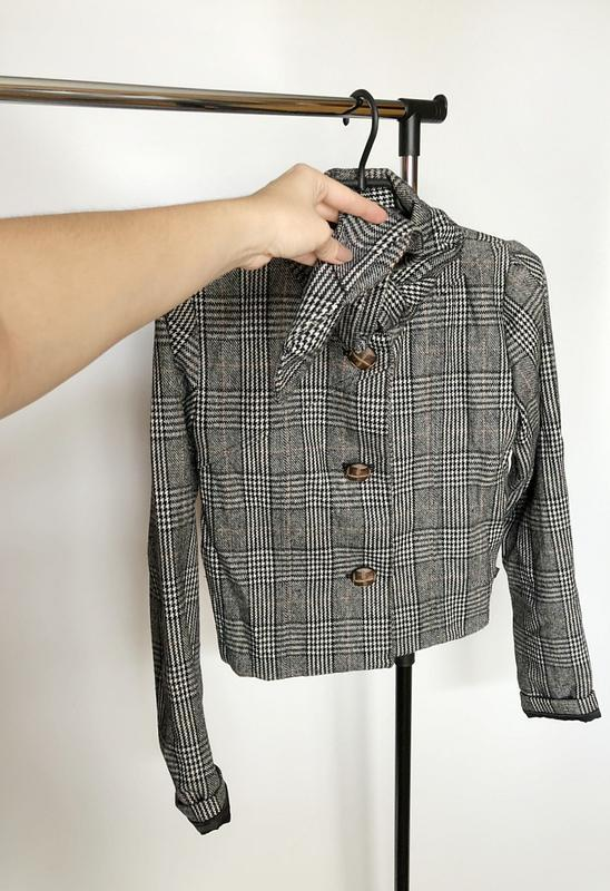 Обалденное короткое шерстяное пальто в клетку supremebeng (жакет) - Фото 9