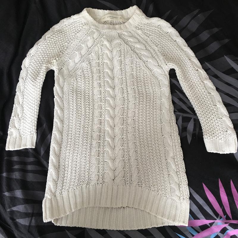 Свитерок zara удлиненный свитер, вязаный свитер zaraknit