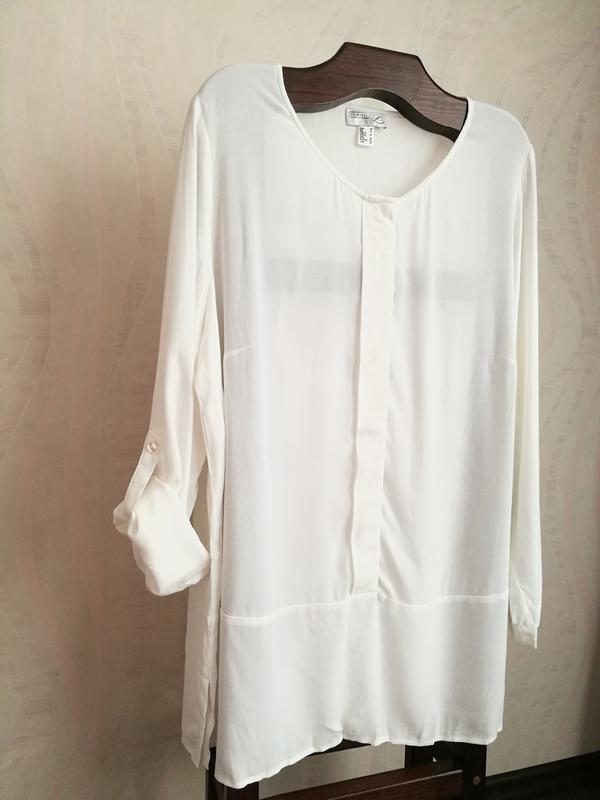 Белоснежная вискозная блуза,туника - Фото 2