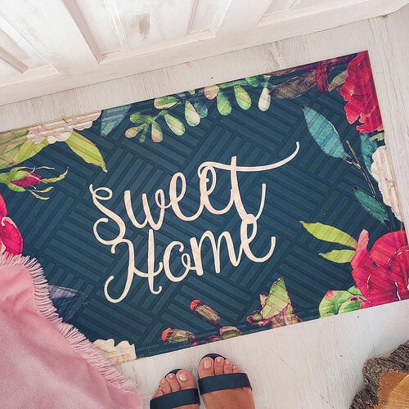 Коврик придверный с принтом sweet home (kov_20s008)