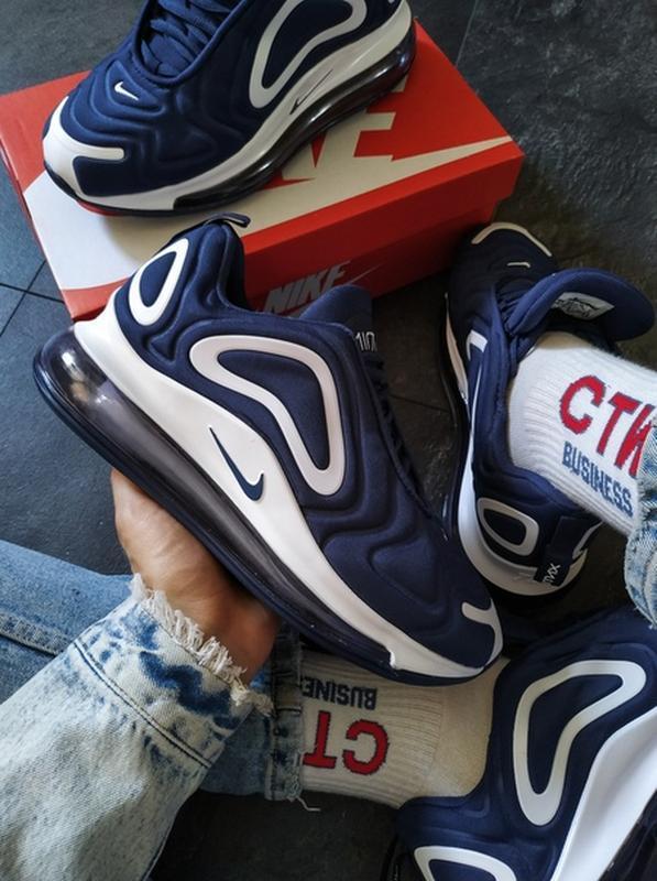 Мужские синие осенние кроссовки найк nike air max 720 blue. - Фото 8