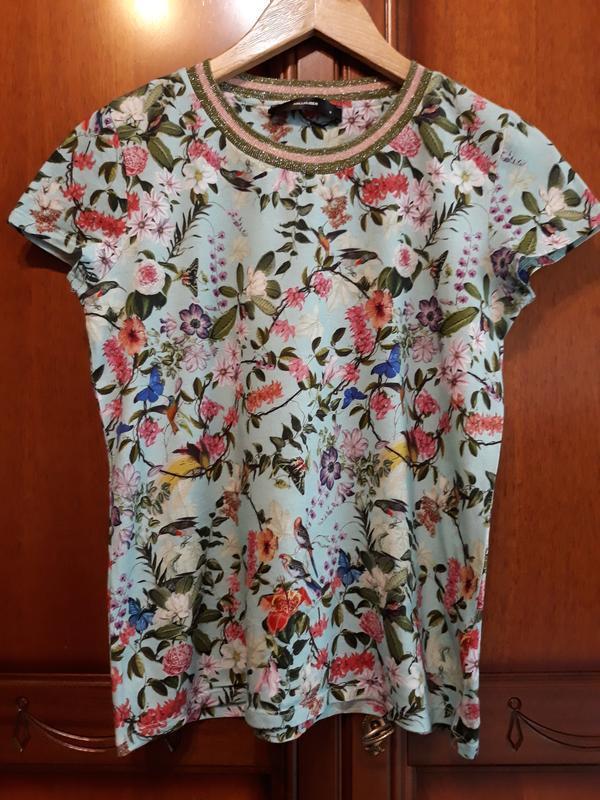Hallhuber фирменная футболка#топ#блуза#майка в цветы#цветочный... - Фото 7