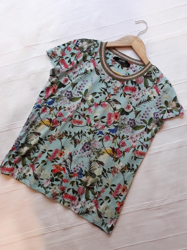Hallhuber фирменная футболка#топ#блуза#майка в цветы#цветочный... - Фото 8