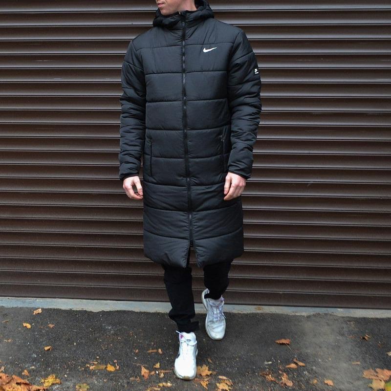 Мужская зимняя черная длинная партка nike???? теплая куртка до -2...