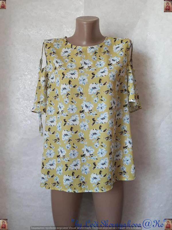 Фирменная atmosphere блуза/футболка в цветочный принт с открыт...