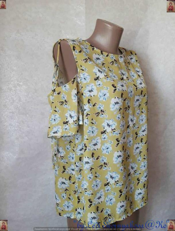 Фирменная atmosphere блуза/футболка в цветочный принт с открыт... - Фото 3