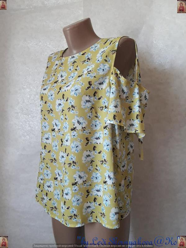 Фирменная atmosphere блуза/футболка в цветочный принт с открыт... - Фото 4