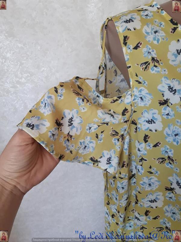 Фирменная atmosphere блуза/футболка в цветочный принт с открыт... - Фото 6