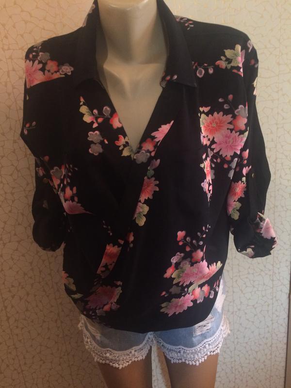 Рубашка блуза на запах в цветы натуральная ткань от oasis