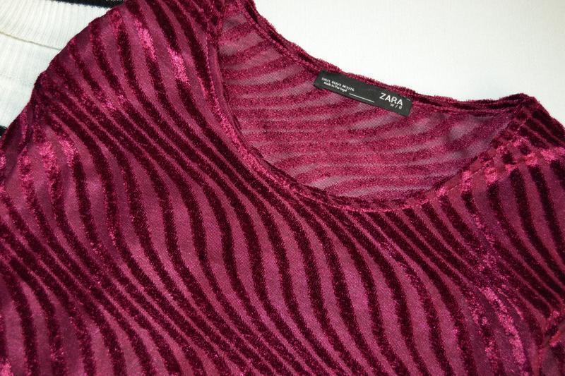 Блуза велюрова винного кольору zara - Фото 3