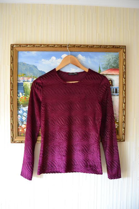 Блуза велюрова винного кольору zara - Фото 5