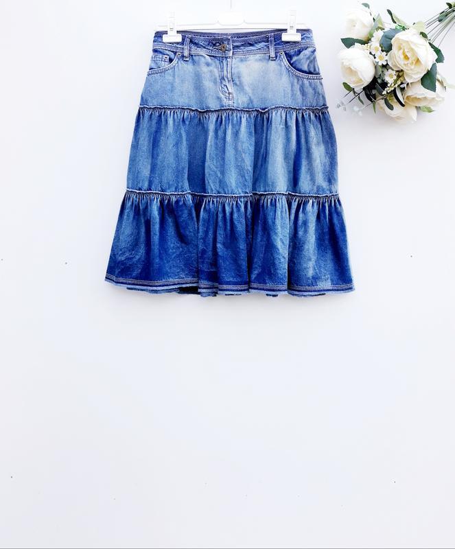 Джинсовая юбка стильная юбка миди 100% хлопок