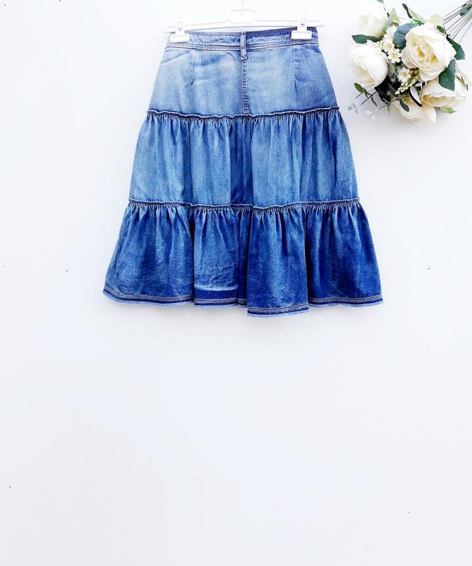Джинсовая юбка стильная юбка миди 100% хлопок - Фото 2
