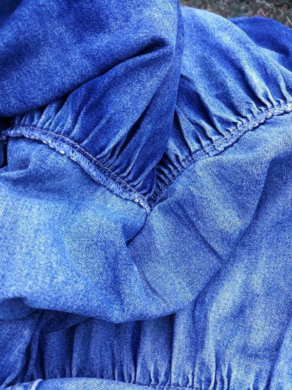 Джинсовая юбка стильная юбка миди 100% хлопок - Фото 3