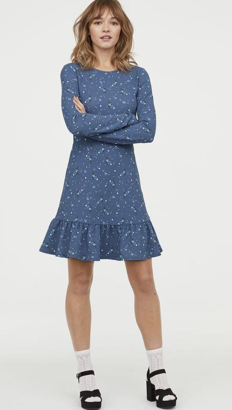 Крутое платье h&m с оборкой