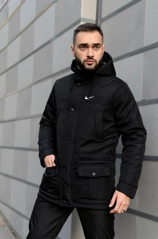 Мужская зимняя черная длинная партка nike???? теплая куртка до -3...