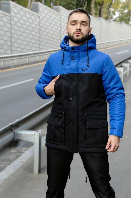 Мужская зимняя черно синяя длинная партка nike???? теплая куртка ...