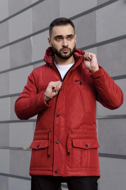 Мужская зимняя  красная длинная партка nike???? теплая куртка до ...