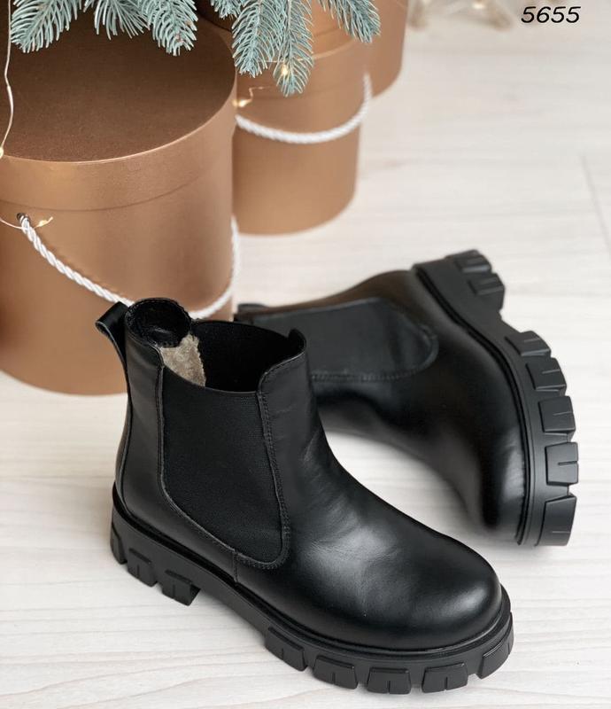 Повседневные короткие зимние ботинки челси, натуральная кожа