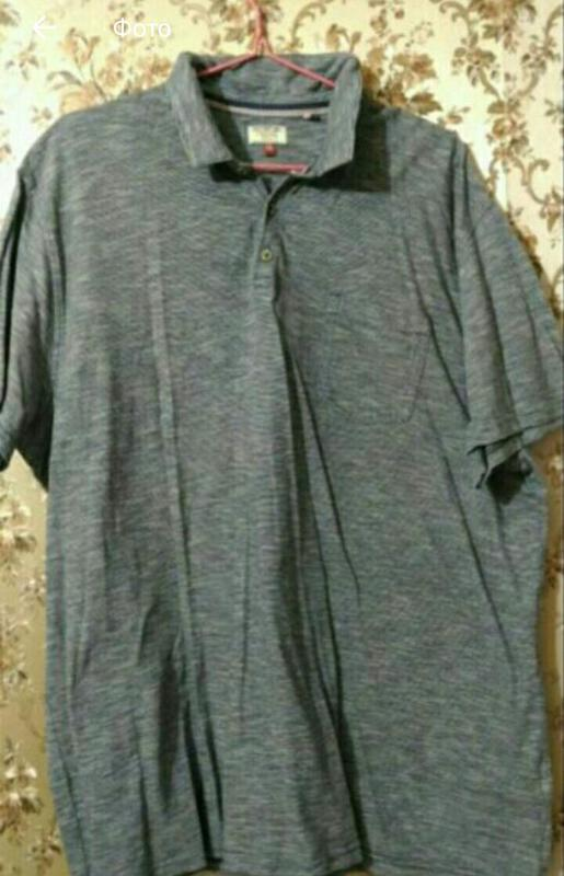Мужская футболка поло , серая в мелкую полоску, размер 52-54