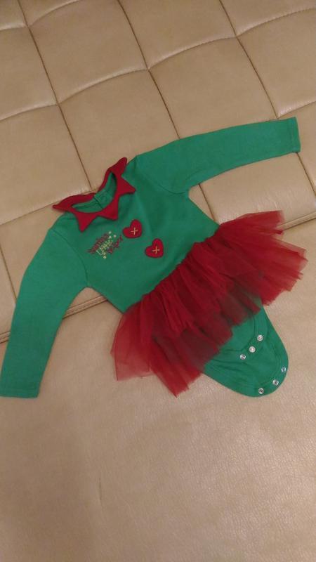 Боди санта, с юбкой пачкой,карнавальный костюм 9-12месяцев