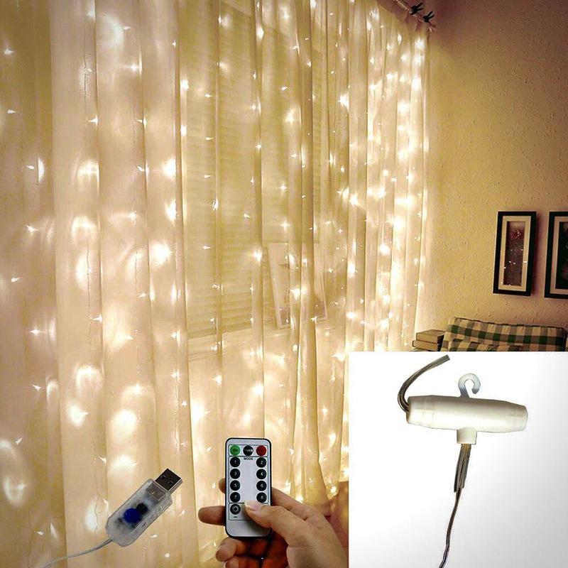 Светодиодная гирлянда штора 3м*3м 300 LED Водопад Светлячков USB - Фото 3