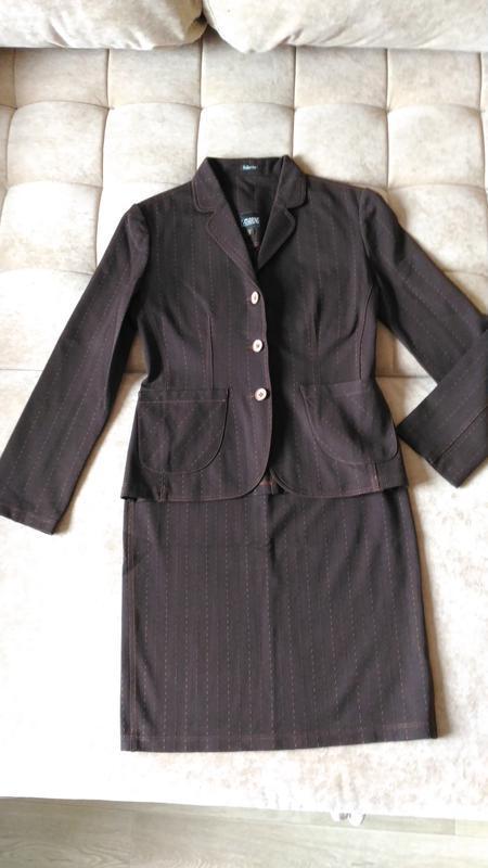 Костюм двойка, пиджак и юбка, италия, стрейч, р.m