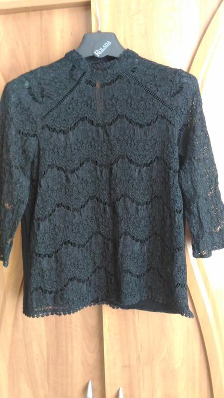 Кружевная, новогодняя  чёрная блузка f&f, р. 10