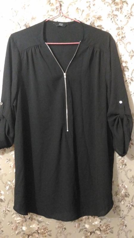 Шифоновая чёрная блузка f&f ,р.18