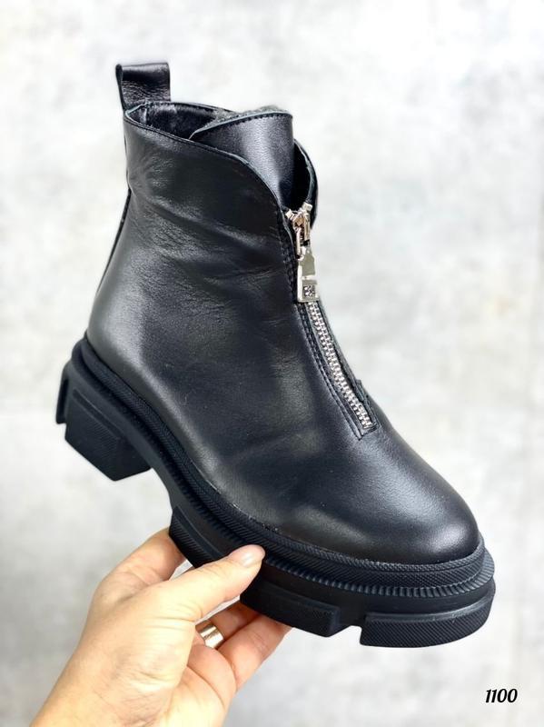 Черные короткие зимние ботинки, натуральная кожа