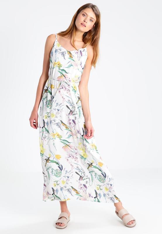 Длинное весеннее летнее платье максиразноцветноев цветочный ...