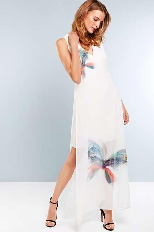Белое легкое цветочный принт длинное макси платье sappfire с д...