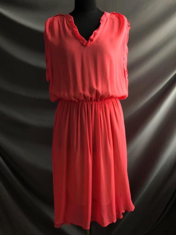 Легкое летнее короткое розовое платье selected femme m-l