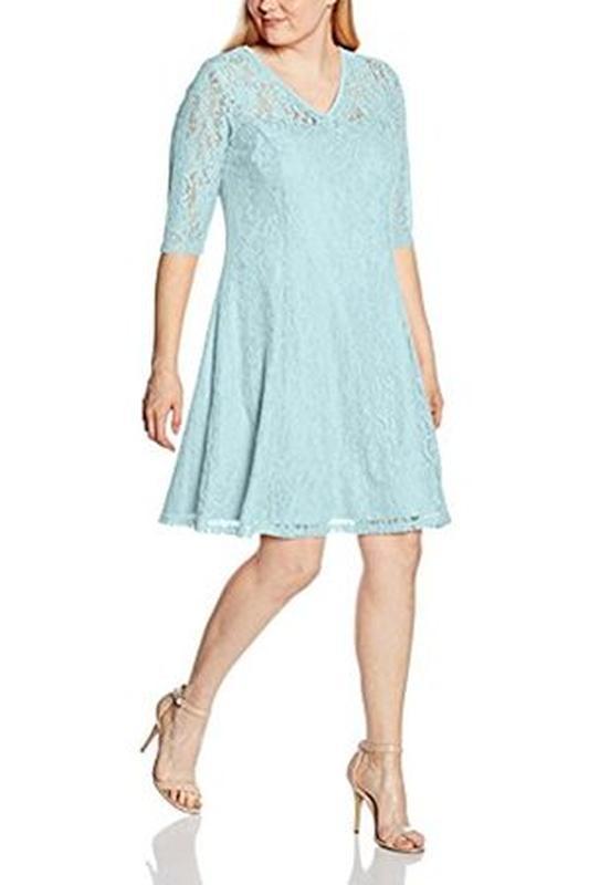 Кружевное нежно-голубое натуральное хлопковое платье миди, plu...