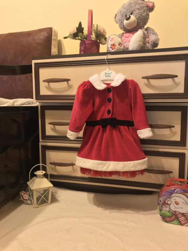 Новогоднее  платье помощницы Санты Marks & Spencer (6-9М)